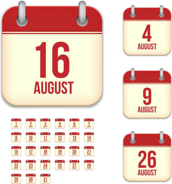 August days. Vector calendar icons vector art illustration