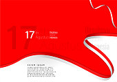 set 17 August, Independence Day of Indonesia background for banner, flyer