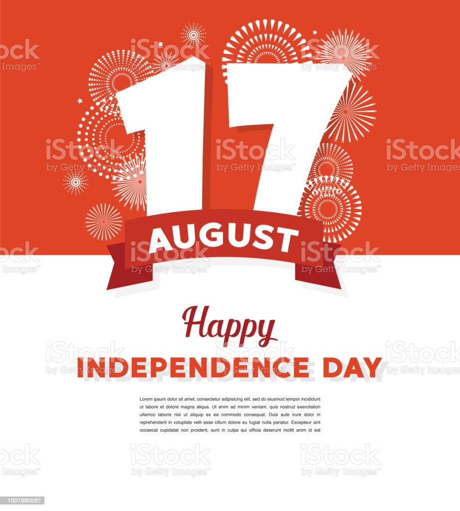17 August. Indonesia Happy Independence Day greeting card and poster. fireworks on indoonesian flag background vector art illustration