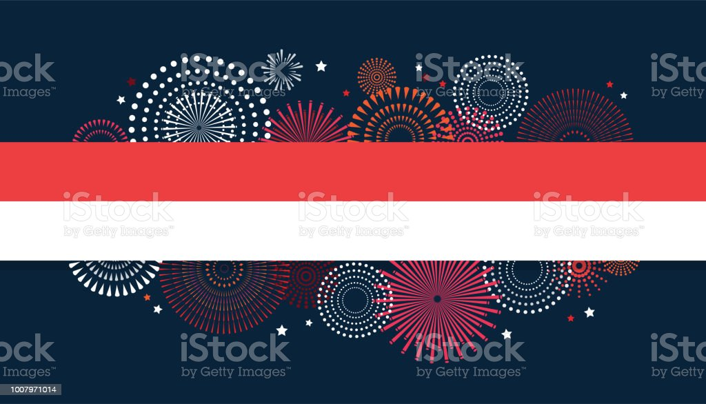 17 August. Indonesia Happy Independence Day greeting card and poster. fireworks on Indonesian flag background vector art illustration