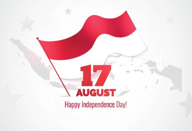 stockillustraties, clipart, cartoons en iconen met 17 augustus. de kaart van de groet van de dag van de onafhankelijkheid van indonesië. - indonesische vlag