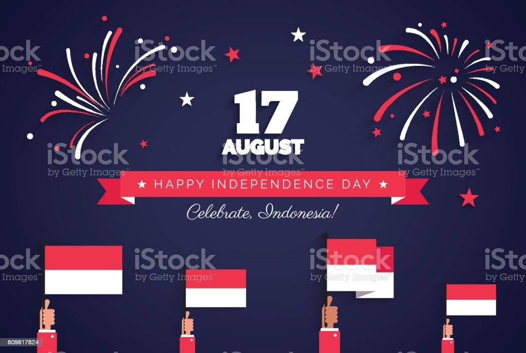 17 August. Indonesia Independence Day greeting card. vector art illustration
