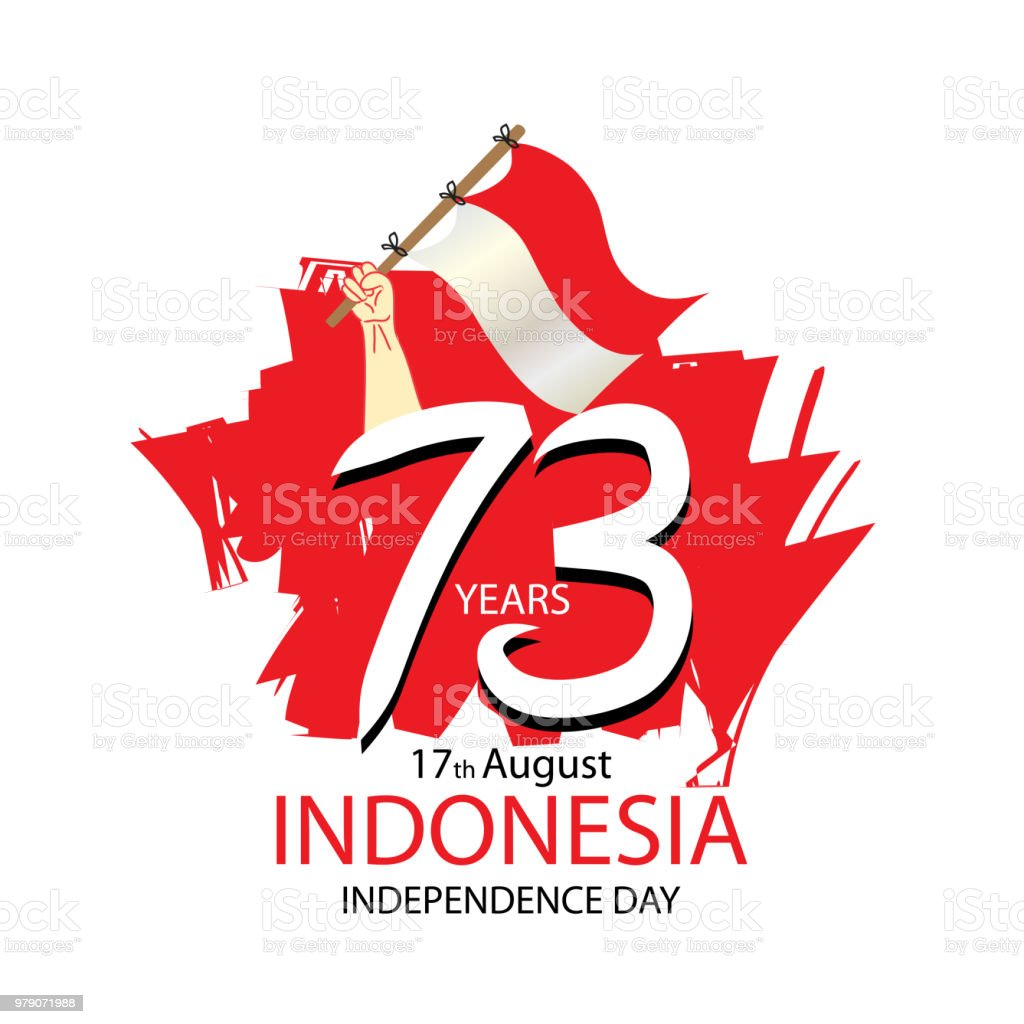 17 August. Indonesia Independence Day greeting card vector art illustration