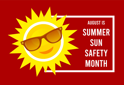 August is summer sun safety month. Vector illustration