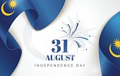 31 August. Malaysia Independence Day background in national flag color theme.