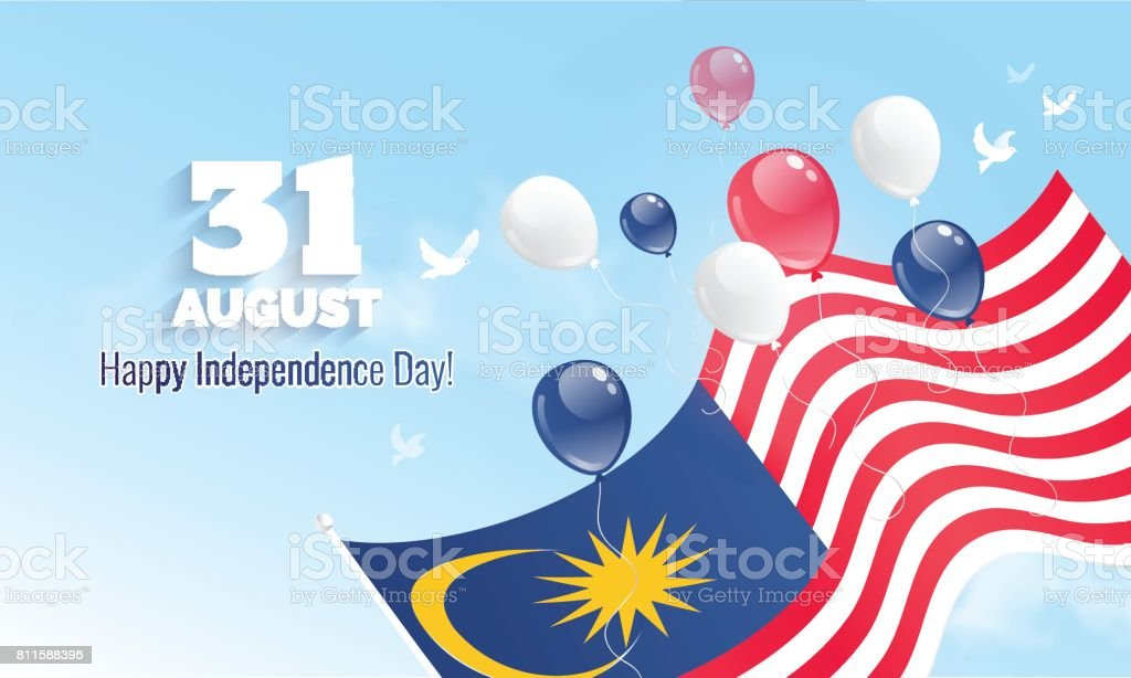 31 August. Malaysia Independence Day greeting card. vector art illustration