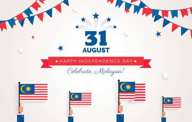 31 August. Malaysia Independence Day greeting card. 31 August. Malaysia Independence Day greeting card. Celebration background with bunting flags, malaysian flags and text. Vector illustration independence day holiday stock illustrations