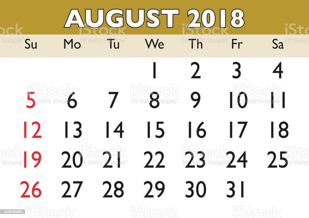 Augustmonat Kalender 2018 Englisch Usa Stock Vektor Art und mehr ...