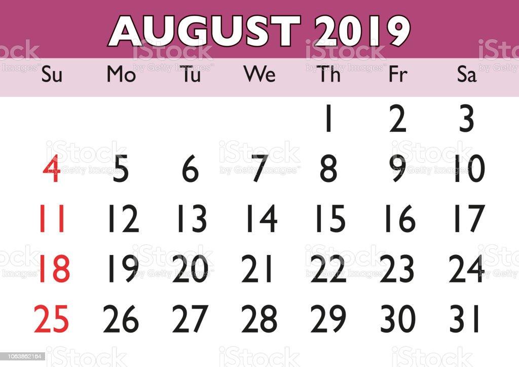 Calendario Agosto 2019 Espana.Ilustracion De Mes De Agosto Calendario 2019 Ingles Usa Y Mas