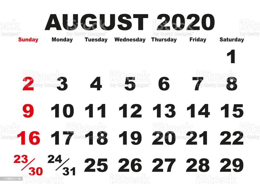 Ilustración de Mes De Agosto Calendario 2020 Inglés Eeuu y más ...