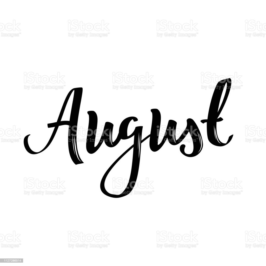 August Month Name Handwritten Calligraphic Word Stock Illustration