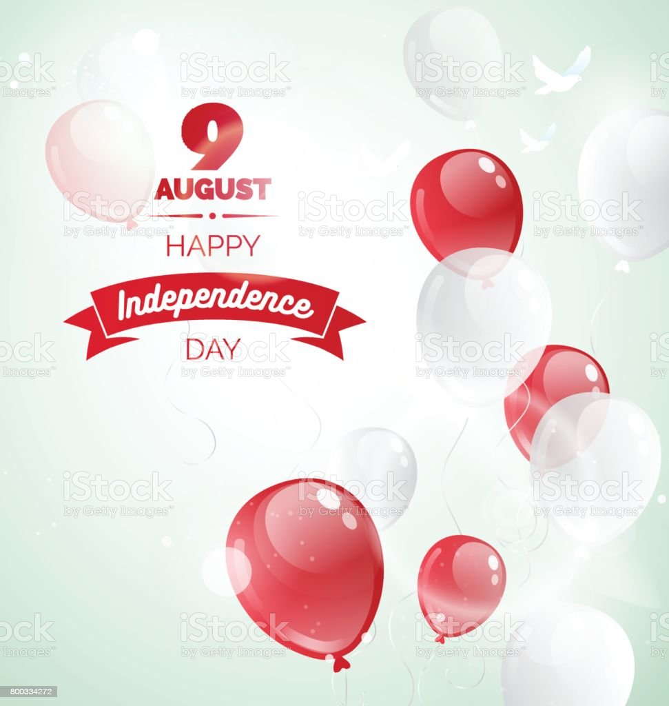 9 August. Singapore Independence Day greeting card. vector art illustration