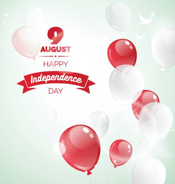 9 August. Singapore Independence Day greeting card. 9 August. Singapore Independence Day greeting card. Celebration background  with flying balloons and text. Vector illustration national holiday stock illustrations