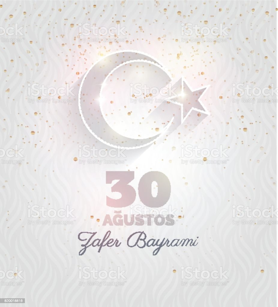 30 August zafer bayrami Victory day Turkey. vector art illustration