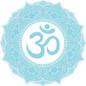 Aum Om Ohm symbol in mandala ornament.
