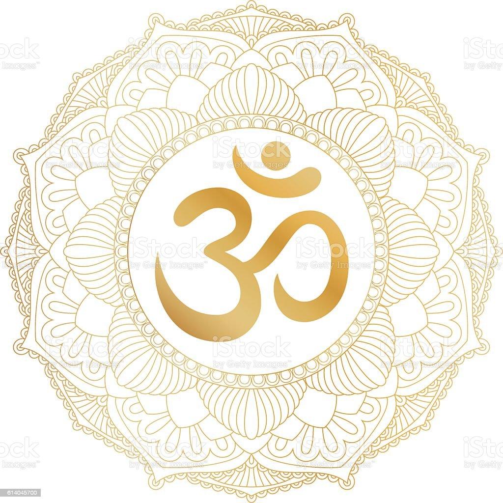 Aum Om Ohm symbol in round mandala ornament. vector art illustration