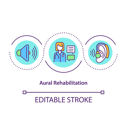 Aural rehabilitation concept icon. Audiologic rehab idea thin line illustration. Life quality improvement to people with hearing loss. Vector isolated outline RGB color drawing. Editable stroke
