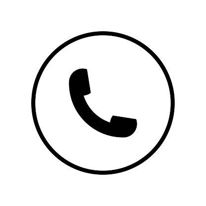 Auricular phone symbol in a circle icon vector icon. Simple element illustration. Auricular phone symbol in a circle symbol design. Can be used for web and mobile.