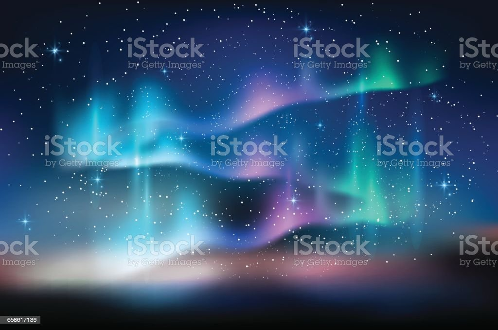 Aurora blue sky, stars milky way, astronomy background, Vector illustration vector art illustration