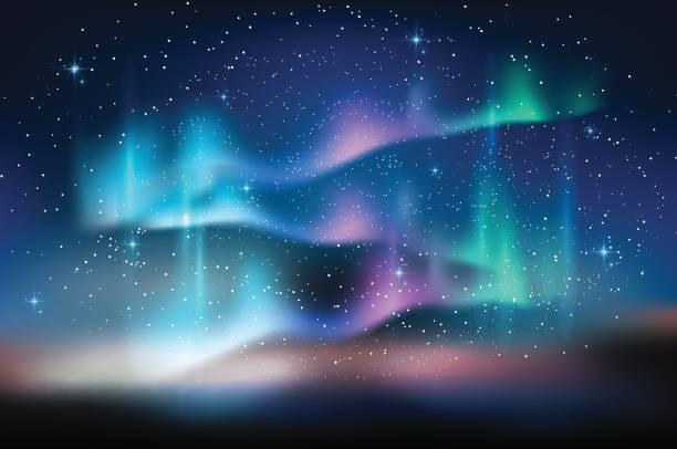 illustrazioni stock, clip art, cartoni animati e icone di tendenza di aurora blue sky, stars milky way, astronomy background, vector illustration - aurora boreale