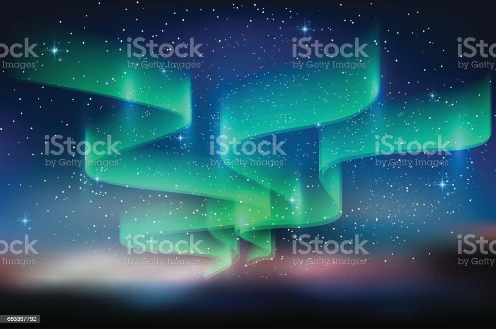 Céu azul Aurora, estrelado por Via Láctea, fundo de astronomia, ilustração vetorial - ilustração de arte em vetor