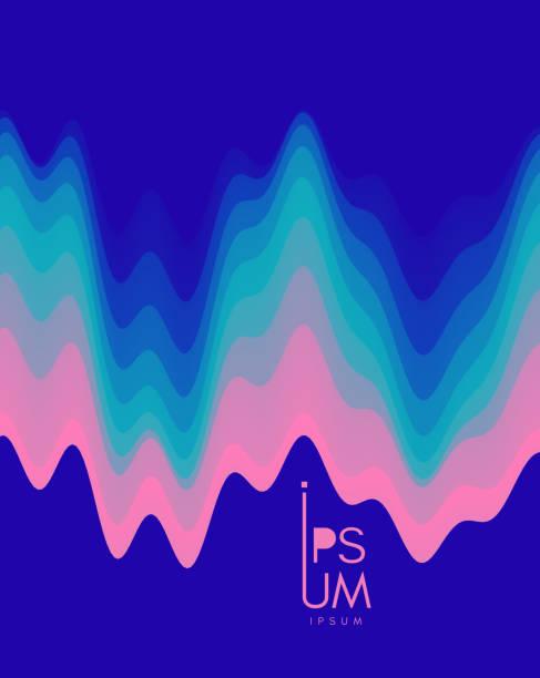 illustrazioni stock, clip art, cartoni animati e icone di tendenza di aurora borealis. abstract wavy background with modern gradient colors. trendy liquid design. vector illustration for banners, flyers and presentation. - aurora boreale