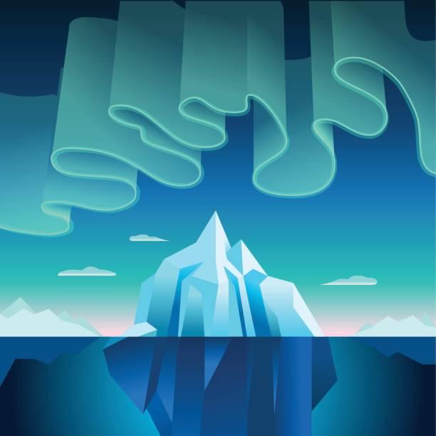 Aurora Boreal e ilustração vetorial de Iceberg - ilustração de arte em vetor