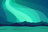 Amazing Aurora Borealis in North Norway, mountains in the background - Scenic Vector Landscape illustration with copy space.