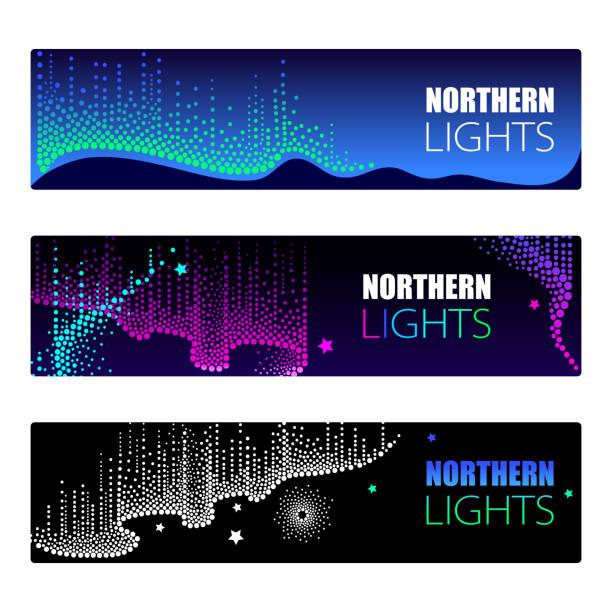 Luzes da aurora boreal no estilo dotwork no fundo da noite para o design de espaço ou galáxia do Ártico. - ilustração de arte em vetor