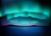 Aurora borealis with blue sky