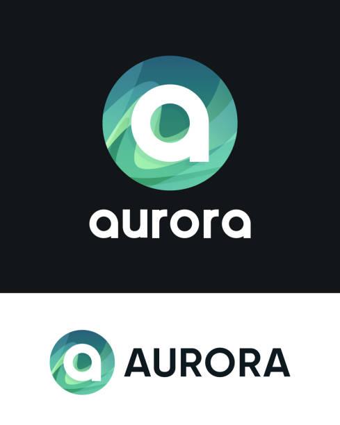 illustrazioni stock, clip art, cartoni animati e icone di tendenza di aurora logo with letter a on black and white - aurora polare