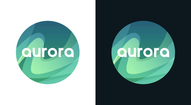 bildbanksillustrationer, clip art samt tecknat material och ikoner med aurora round emblem, norra borealis travel logo - northern lights