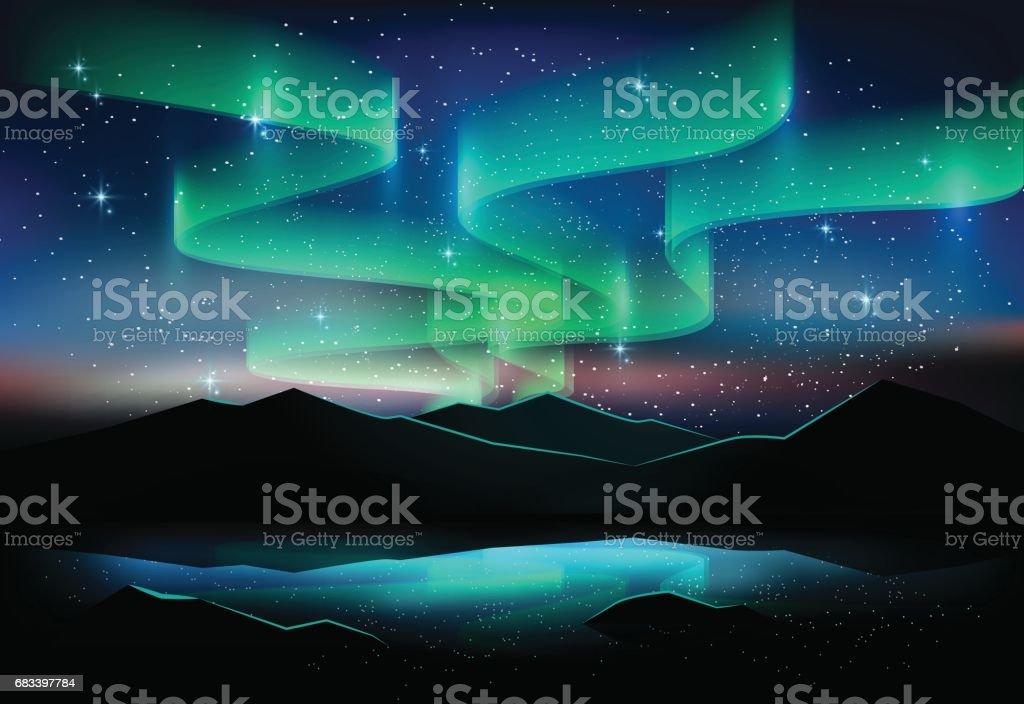 Céu de Aurora e estrelas no lago, fundo de astronomia, ilustração vetorial - ilustração de arte em vetor