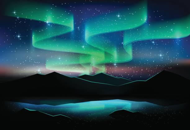 illustrazioni stock, clip art, cartoni animati e icone di tendenza di aurora sky and stars on lake, astronomy background, vector illustration - aurora boreale