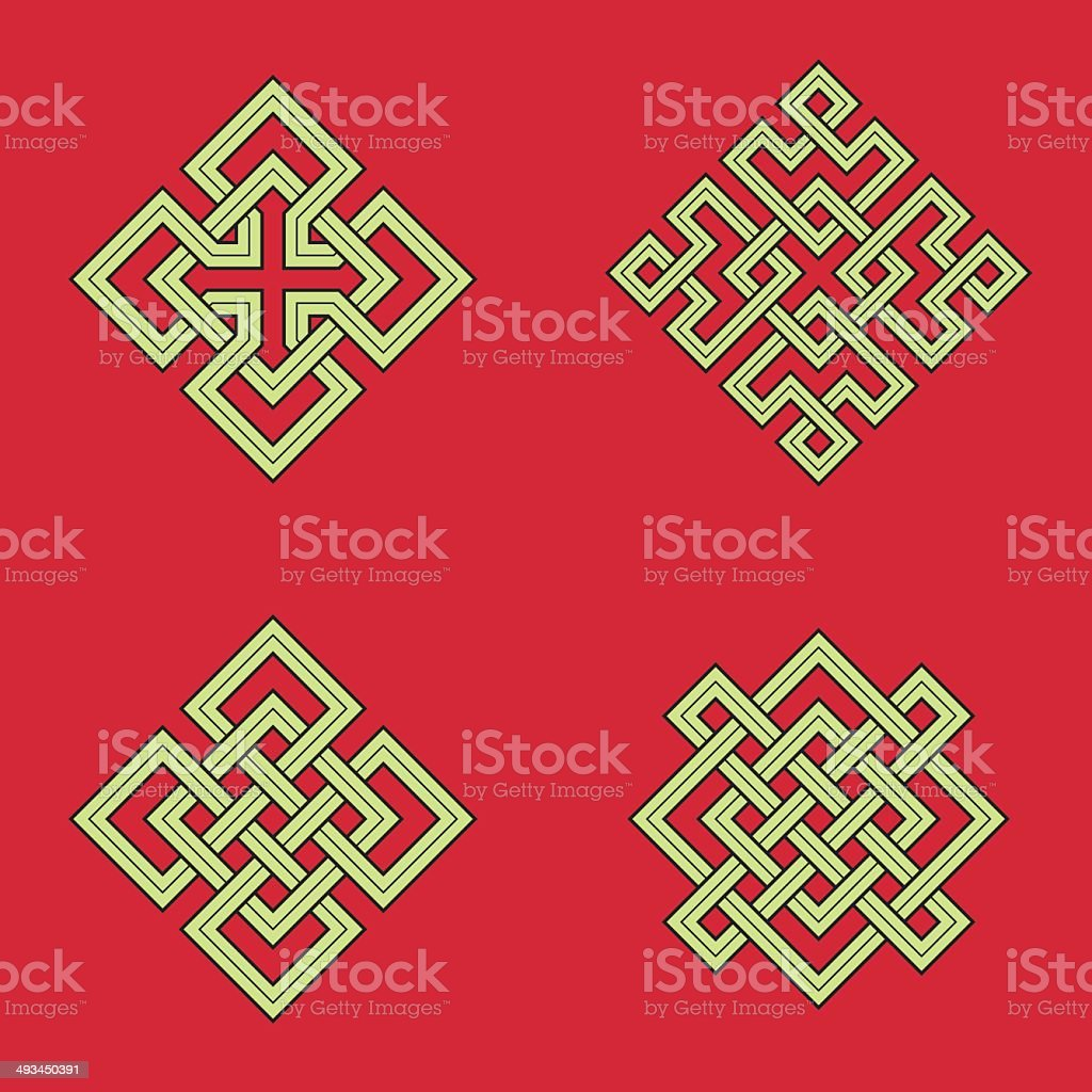 Auspicious knots vector art illustration