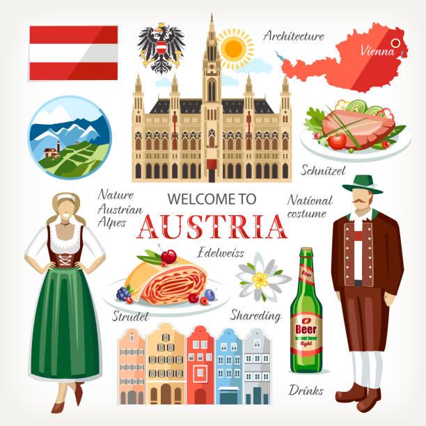 bildbanksillustrationer, clip art samt tecknat material och ikoner med ausrtria symboler set - salzburg