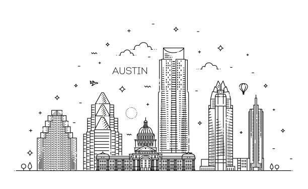 Austin Architektur Linie Skyline Abbildung. Linearer Vektor Stadtbild mit berühmten Sehenswürdigkeiten – Vektorgrafik