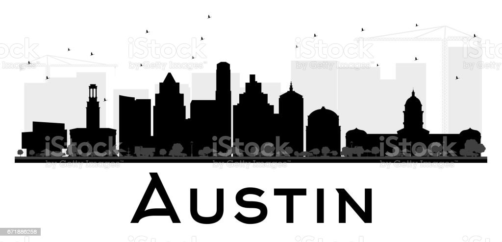 Austin City skyline black and white silhouette. vector art illustration