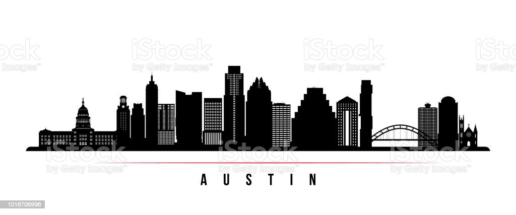 Austin city skyline horizontal banner. Black and white silhouette of Austin city, USA. Vector template for your design. vector art illustration