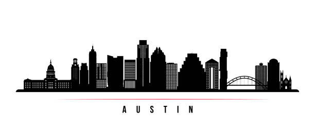 ilustrações de stock, clip art, desenhos animados e ícones de austin city skyline horizontal banner. black and white silhouette of austin city, usa. vector template for your design. - skyline