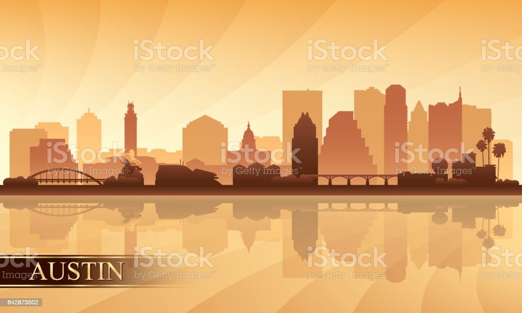 Austin city skyline silhouette background vector art illustration