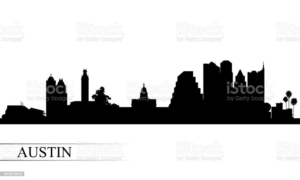 Austin city skyline silhouette background vector art illustration