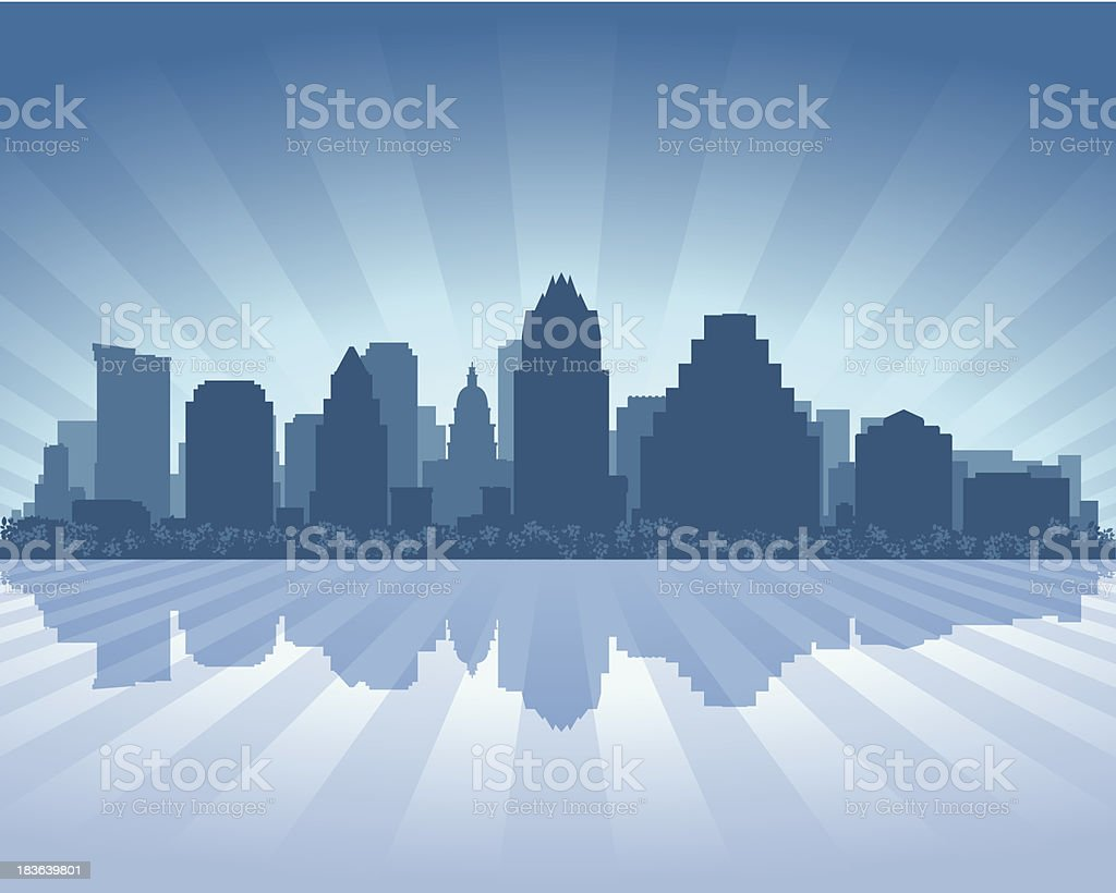 Austin City skyline silhouette vector art illustration