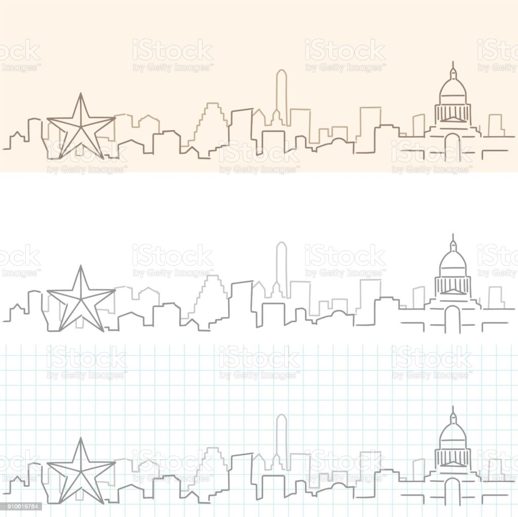 Austin Hand Drawn Skyline vector art illustration
