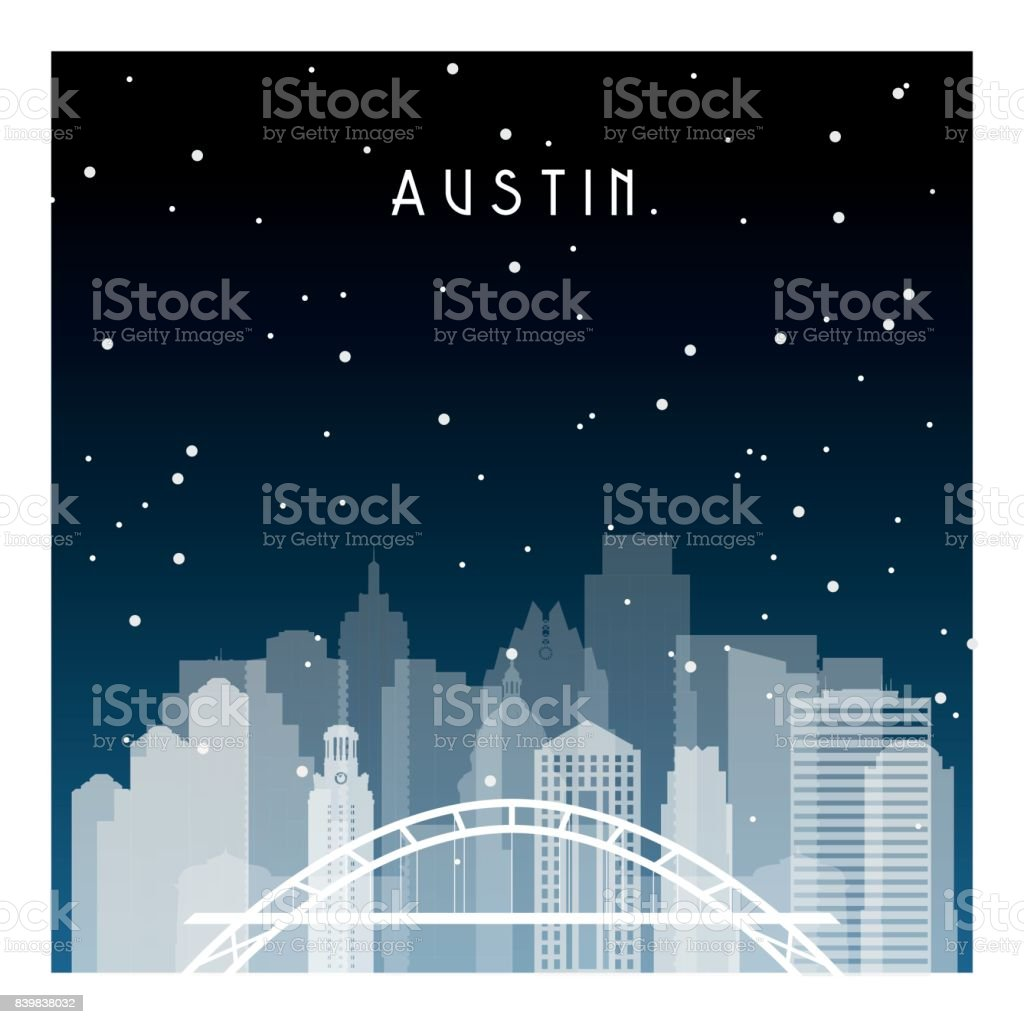 Austin night in Zurich. Night city in flat style for banner, poster, illustration, game, background. vector art illustration
