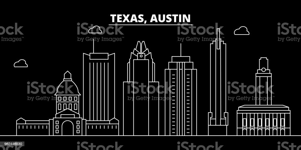 Austin silhouette skyline. USA - Austin vector city, american linear architecture, buildings. Austin travel illustration, outline landmarks. USA flat icon, american line banner vector art illustration