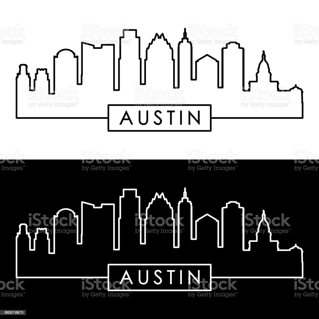 Austin skyline. Linear style. Editable vector file. vector art illustration