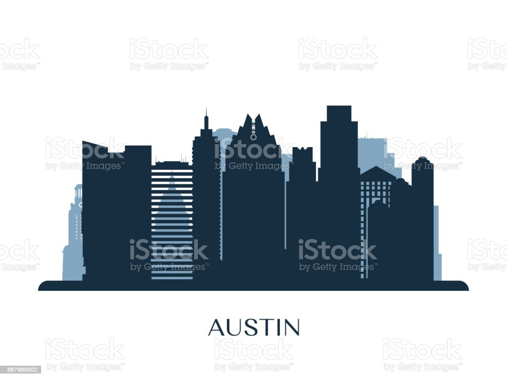 Austin skyline, monochrome silhouette. Vector illustration. vector art illustration
