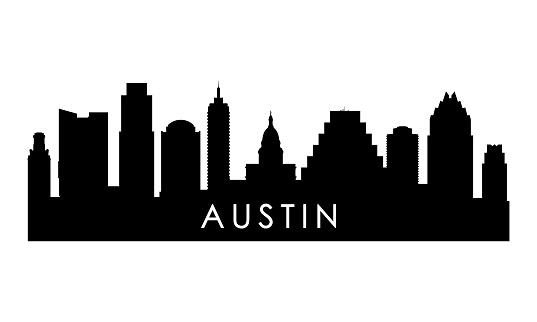 Austin skyline silhouette. Black Austin city design isolated on white background.