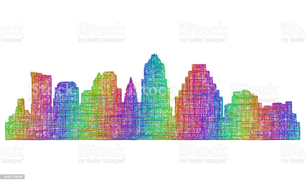 Austin skyline silhouette - multicolor line art vector art illustration